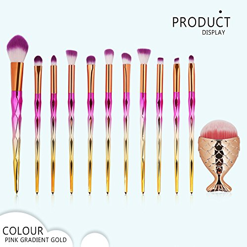 JYS Makeup Brushes 12 Pcs Makeup Brush - Premium Synthetic Foundation Brush Blending Face Powder Blush Concealers Eye Shadows Mermaid Foundation Brush Make Up Brushes Kit]()