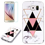 for Samsung Galaxy S7 Marble Case and Screen Protector,Unique Pattern Design Ultra Thin Slim Fit Soft Silicone Phone Case Bumper,QFFUN Shockproof Anti-Scratch Protective Back Cover - Triangle