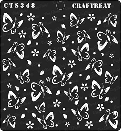 Tile Reusable Painting Template for Journal Pretty Butterflies Home Decor CrafTreat Stencil Scrapbook and Printing on Paper Crafting Floor Notebook Wall DIY Albums Fabric 6x6 inches