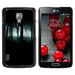 Paccase / SLIM PC / Aliminium Casa Carcasa Funda Case Cover - Forest Green Mist Fog Dark Spooky - LG Optimus L7 II P710 / L7X P714