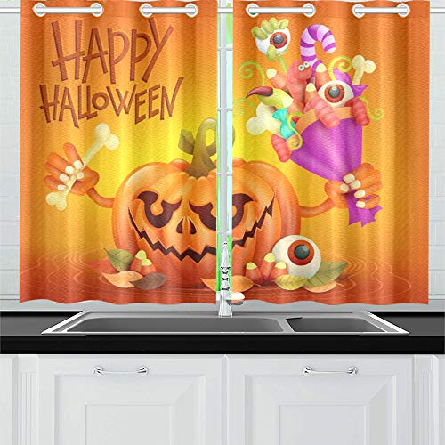 ENEVOTX Happy Halloween Concept Card Pumpkin Scary Kitchen Curtains Window Curtain Tiers for Café, Bath, Laundry, Living Room Bedroom 26 X 39 Inch 2 Pieces