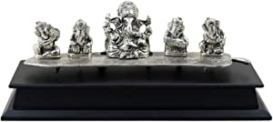 GoldGiftIdeas Oxidized Silver Plated Musical Ganesha Idols Set for Home Decor, Ganesha Musical Set, Indian Pooja Items for Gift, Spiritual Gift Item, Figurine Sculpture Statue, Housewarming Gift