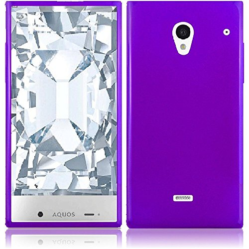 Sharp Aquos Crystal 306SH Case, Slim Fit Soft Rubber Candy Skin (TPU) Gel Jelly Cover by MEGATRONIC - Purple [With FREE Stylus Pen + Anti Scratch Clear LCD Screen Protector + Microfiber Cleaning Cloth]