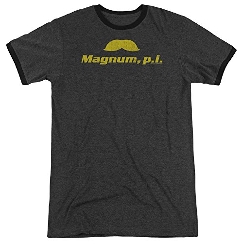Magnum Pi The Stache Mens Adult Heather Ringer Shirt Charcoal - Pi Ringer