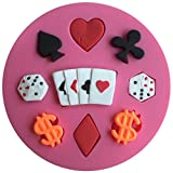 FLY Poker And Dollar 3D Silicone Fondant Cake Mold For Cake Decorating Baking Mould,Pink