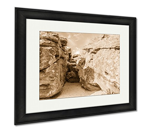 Ashley Framed Prints The Entrance To The Cave In The Stony Mountains, Modern Room Accent Piece, Sepia, 34x40 (frame size), Black Frame, AG6498874