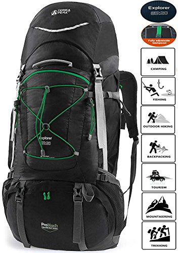 Cheap TERRA PEAK Adjustable Hiking Backpack 85L+20L for Men Women With Free Rain Cover Included Black