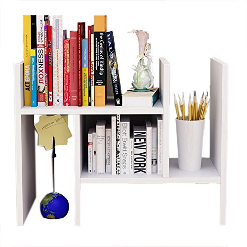 Adjustable Expandable Tidy Wood Desktop Storage for placing Office Supplies, Documents, Books, and Plants (White, Type H)