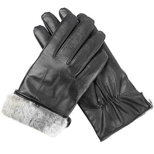 Men's Genuine Sheepskin Leather Rabbit Fur Lined Gloves by CANDOR AND CLASS (Black, Medium) (Mens Rabbit Fur Lined Black Leather Gloves)