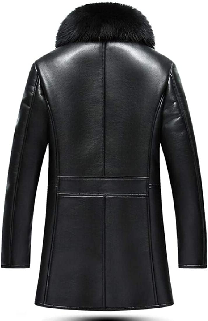 jmwcca-da Mens Fur Collar Faux Single-Breasted Leather Jacket Motorcycle Lightweight Faux Leather Outwear Black