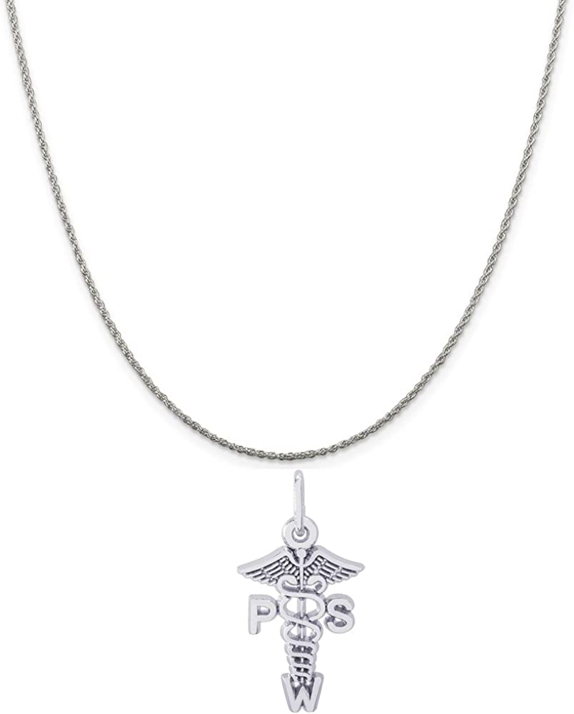 Rembrandt Sterling Silver Dental Hygienist Charm on a Sterling Silver Rope Chain Necklace