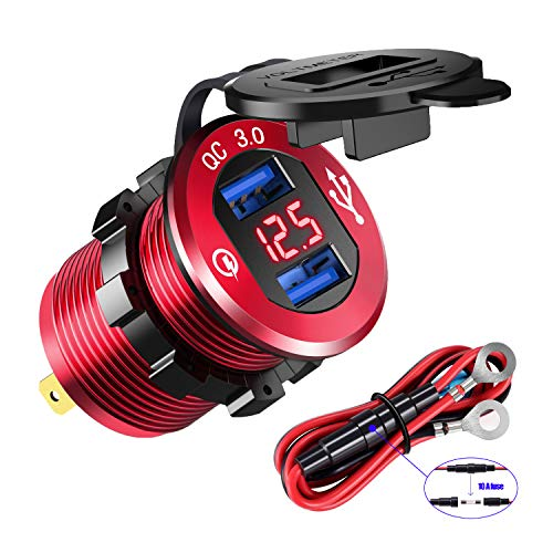 - YonHan Quick Charge 3.0 Dual USB Charger Socket, Waterproof Aluminum Power Outlet Fast Charge with LED Voltmeter & Wire Fuse DIY Kit for 12V/24V Car Boat Marine ATV Bus Truck and More - Red
