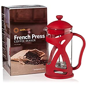 French Coffee Press, Cold Brew Maker, Loose Leaf & Iced Tea Infuser, 34 oz with Stainless Steel Filter, and Spoon