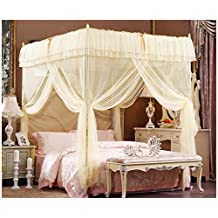"""Beige Lace Luxury Four Corner Square Princess Bed Canopy, 72""""x 86""""x 82"""" (California King)"""