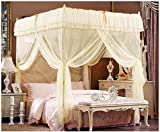 Beige Lace Luxury Four Corner Square Princess Bed Canopy, 72''x 86''x 82'' (California King)