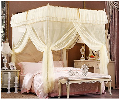 Beige Lace Luxury Four Corner Square Princess Bed Canopy