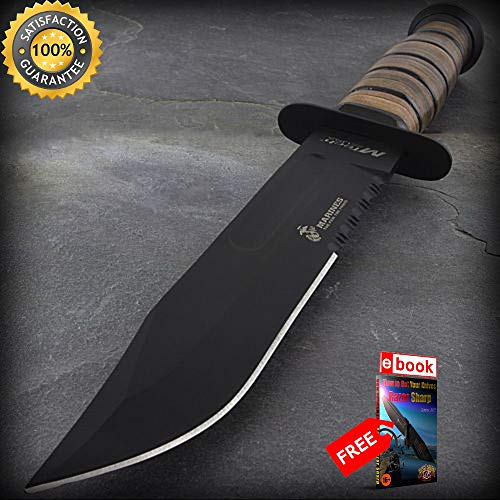 - 11.5'' LICENSED USMC MARINES TACTICAL COMBAT SHARP KNIFE Survival Fixed Blade WWII Combat Tactical Knife + eBOOK by Moon Knives