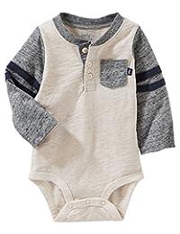 OshKosh B'Gosh Baby Boys' Varsity Pocket Henley Bodysuit
