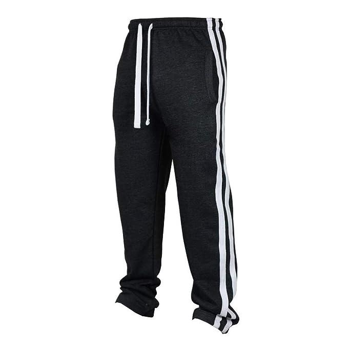 kunfang Pantalones Largos de Hombre Deportivos Jogging Fitness Hip Hop  Pantalones Cintura Elástica Cordón Raya Elasticidad Pantalones Deportivos   Amazon.es  ... fa071f03a87