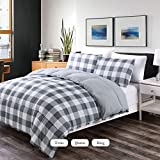 Luxe Bedding 3-PCS Reversible Down Alternative Quilted Duvet / Gingham Comforter Set - All Season Hotel Quality (Full/Queen, Grey)