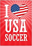 Laminated I Love USA Soccer (World Cup, Red) Sports Poster Print 13 x 19in