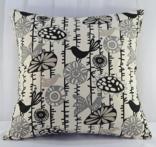 Creative 100% Cotton Canvas Throw Pillow Cover / Cushion case, 24 by 24, Bird