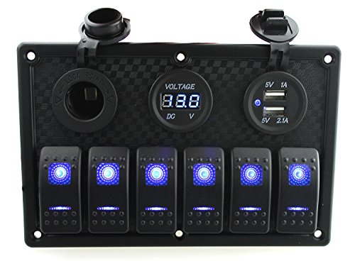 Ambuker 6 Gang Rocker Switch Panel with Dual USB voltmeter & Power Socket with Decal Sticker Labels DC12V-24V for Car Marine Boat Trailer Rv Vehicles Truck ()