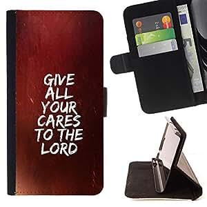 BullDog Case - FOR/Samsung Galaxy S6 EDGE / - / GIVE ALL YOUR CARES TO THE LORD /- Monedero de cuero de la PU Llevar cubierta de la caja con el ID Credit Card Slots Flip funda de cuer