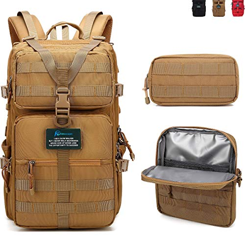 PRIMOCEAN Backpack 40L-50L, Insulated Cooler Bag, Hiking, Traveling, 17-inch Laptop, Camping, 3 in 1 Detachable, Waterproof, USB Port, Molle, Beach, Fishing, Hunting, Meal Prep Lunch Box (Khaki)