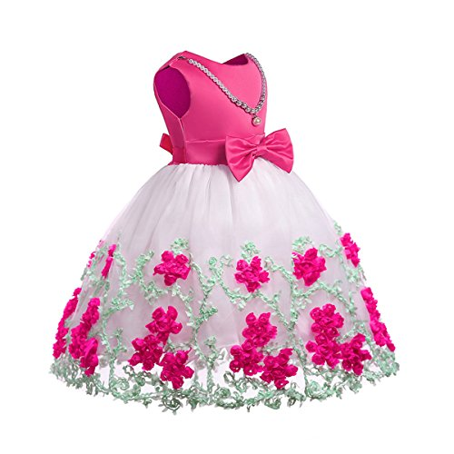 NSSMWTTC Girl Party Dress Princess Kids Knee Length Sleeveless Halloween Prom Dresses Size 8T(Rose,140)
