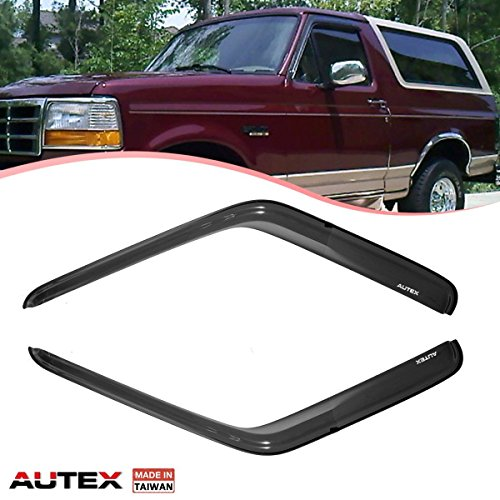 AUTEX 2 Pcs Tape On Window Visor Compatible with Ford Bronco 1980-1996 F-Series Pickup Regular & Super Cab Window Deflector Visor Sun Rain Shade Wind Guard Made in Taiwan