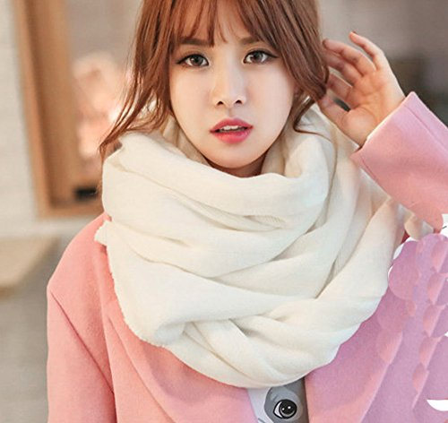 Wander Agio Womens Warm Long Shawl Winter Blanket Scarf Scarves Pure Color White