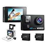 WiMiUS Sports Action Camera 4K WiFi Ultra HD 1080P 16MP Dual Screen (back:2.0 inch+front:0.66 inch ) Waterproof Video Camera Camcorder Include 2pcs Batteries With Mounting Accessories Kits (Q4) (Black)