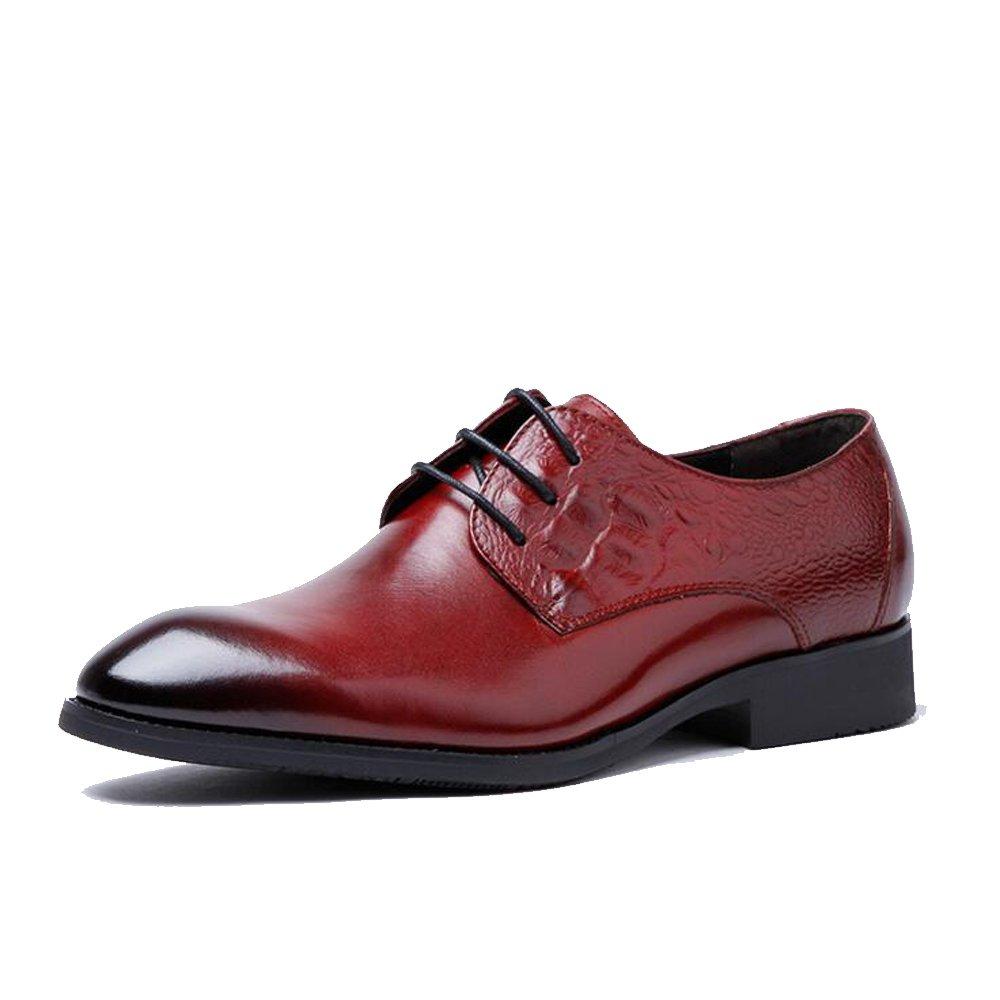 GAOLIXIA Zapatos de cuero de moda para hombres - Zapatos de vestir de cuero con cordones para hombres - Amarillo negro Borgoña Reino Unido Tallas 6-10 (Color : Borgoña, tamaño : 40) 40|Borgoa