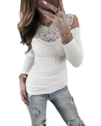 608cd2a415529 Langarm Sweatshirt Sexy Tops Weiß Hemd Schulterfrei Spitze ...