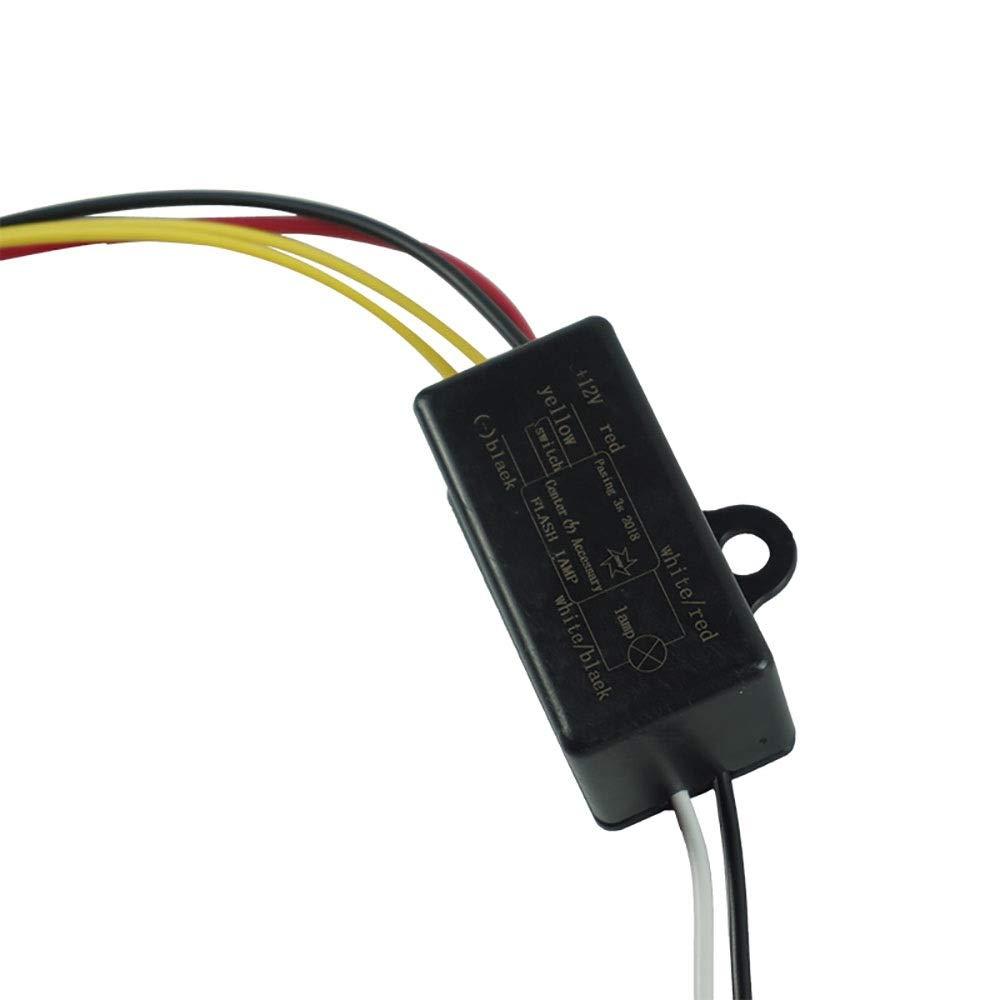 Farbe : Schwarz Qiuli Netzschalter-Knopf 1 ST/ÜCK Blitzlicht Controller Blinkmodul LED Bremslicht Scheinwerfer Scheinwerfer Controller f/ür 12 V Motorr/äder Zubeh/ör