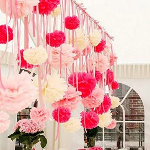 Kubert® Pom Poms -18Pcs of 8'' 10'' 14'' Multi-Colors Tissue Paper Flowers Pom Poms Wedding Decor Party Decor Pom Pom Flowers Pom Poms Craft Pom Poms Decoration-Vintage Hanging Lantern by Kubert (Image #1)