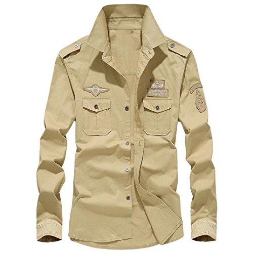 Sleeves Personnalité Bouton Homme Automne shirt Chemises Occasional Man's Fuibo Couleur Long Manches Longues Loisir Chandails Militaire Cargo T Mode Kaki Coton Clearance HBTwfqxCSC