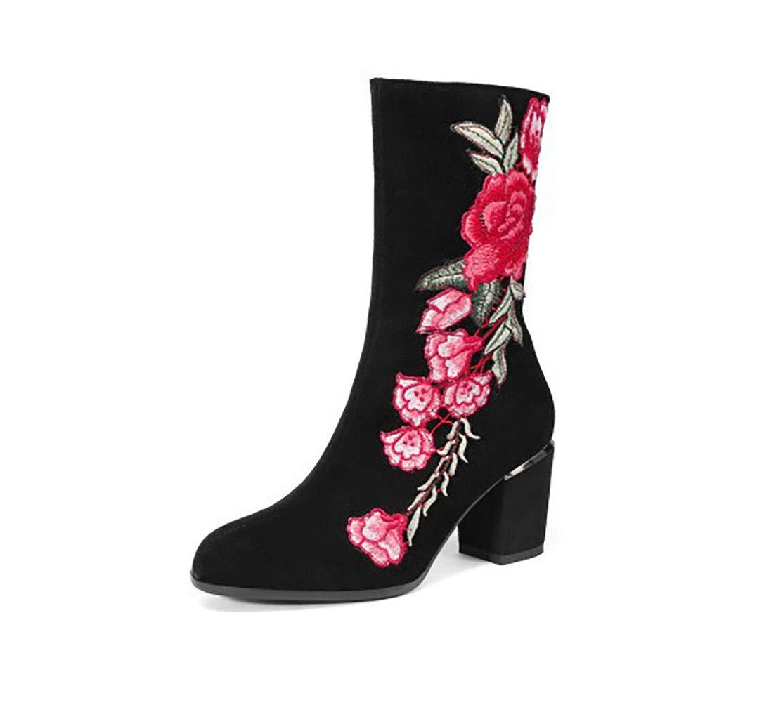 Frauen Stiefelies Leder dick mit runden Kopf Absatzstiefel seitlichen Reißverschluss Stickerei Stiefel Herbst und Winter neu,35EU