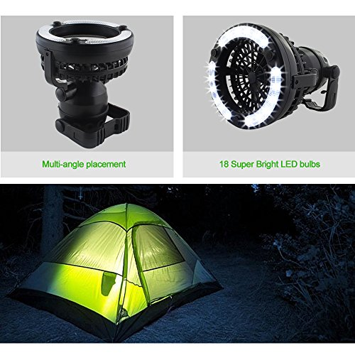 HAITRAL 2 IN 1 LED Tent Light Fan Portable Camping Lantern with Ceiling Fan