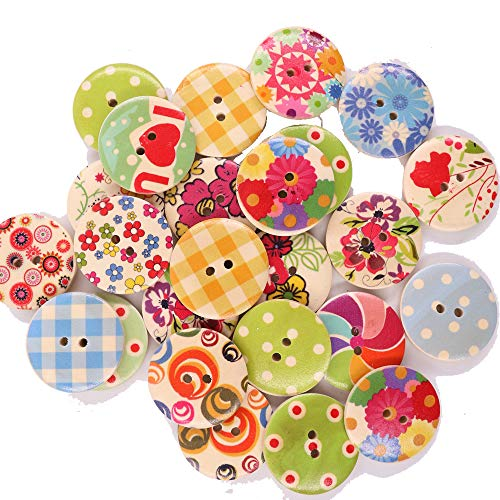 Renashed 50Pcs Mixed Color Design Wooden Buttons in Bulk for Crafts Scrapbooking or Sewing and DIY Craft (30mm) (Sewing Bulk In Buttons)