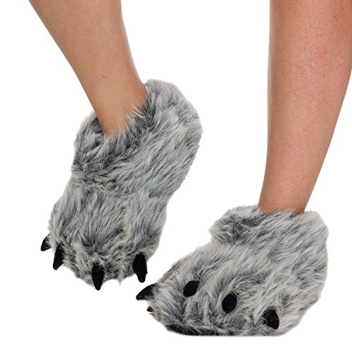 Silver Lilly Womens Bear Paw Animal Slippers (Gray, Large)