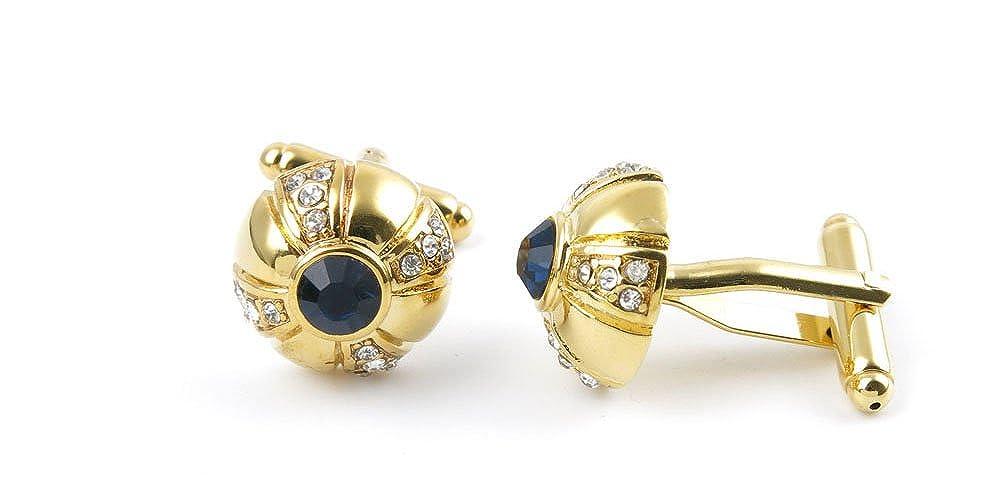 2 Pairs Button Gift Classic Cloth Wedding Cufflinks Cuff Links IT0E4 Black Crystal Diamond Golden