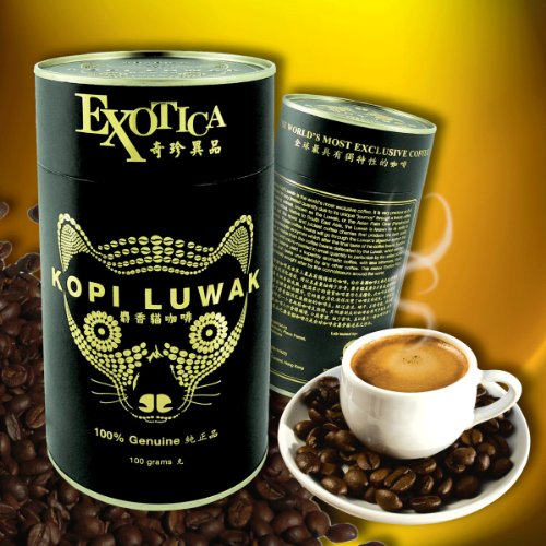 Price comparison product image The World's Most Exclusive Coffee, Kopi Luwak Specialty Arabica House Blend Gourmet Coffee Roasted Whole Beans (100g)