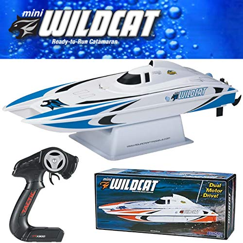 (Aquacraft Models RTR Remote Control RC Boat: Mini Wildcat Electric Catamaran with 2.4GHz Radio, Servo, 2 in 1 Receiver / ESC,  Dual Motors, 7.2V 1100mAh NiMH Battery, and Charger)