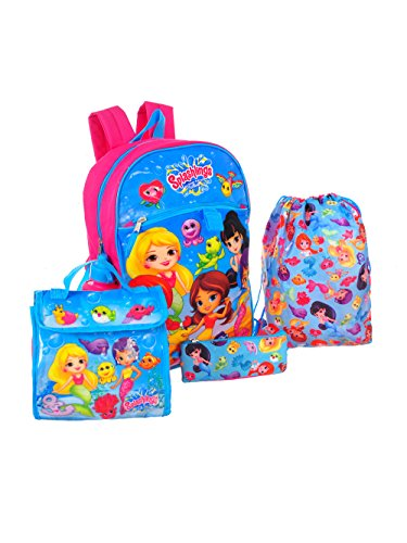 Splashlings 5 piece Backpack School Set (Splashlings Blue/Pink)