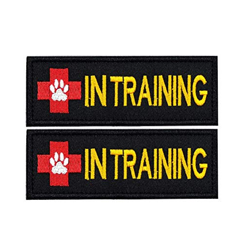 FAYOGOO in Training Dog Patch Embroidered Velcro Patches for Dog Vest Harness Jacket Saddle Bag Pouch Backpack, 2 Pieces, Black, Rectangle