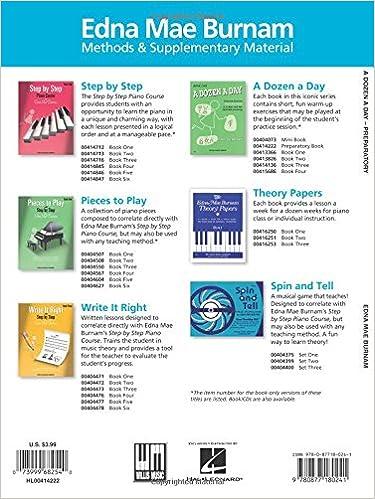 A Dozen a Day Preparatory Book, Technical Exercises for Piano ...