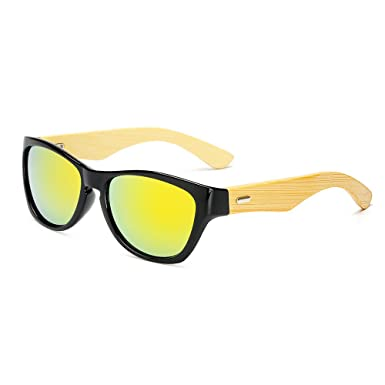 Amazon.com: Wei dan wooden bamboo arm glasses men and women ...