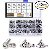440pcs M3 M4 M5 304 Stainless Steel Precise Metric Allen Hex Head Cap Self Tapping Screws and Nuts Handy Assortment Kit with Box, Round Flat Socket Bolts and Nuts Set